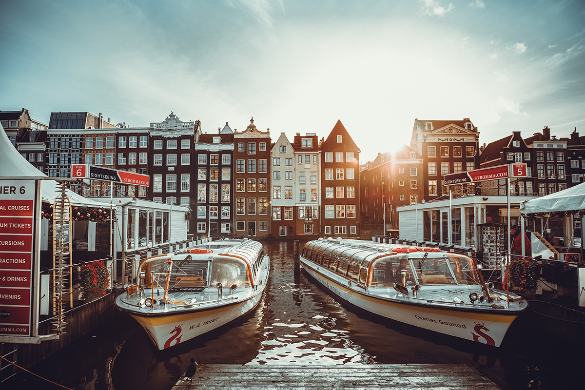 Sunrise harbor Amsterdam