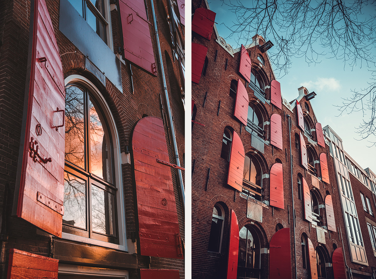 Red shutters Amsterdam