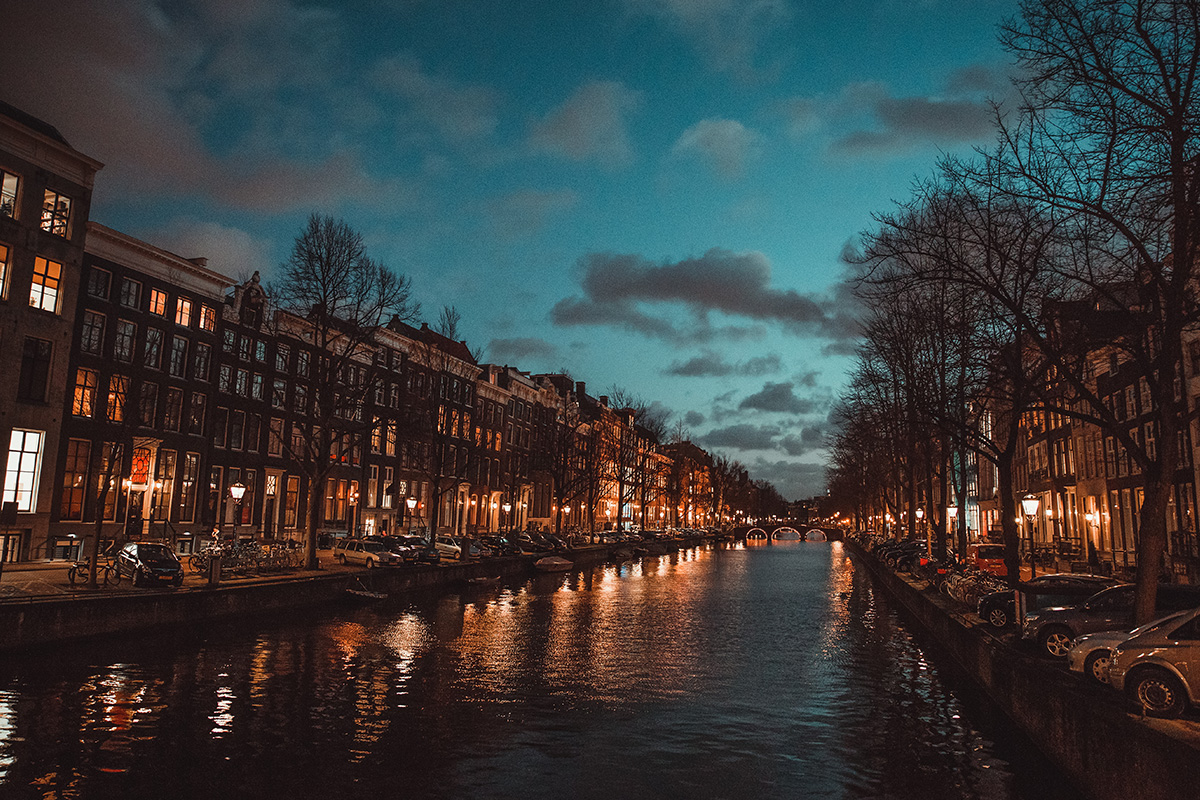 Night river Amsterdam