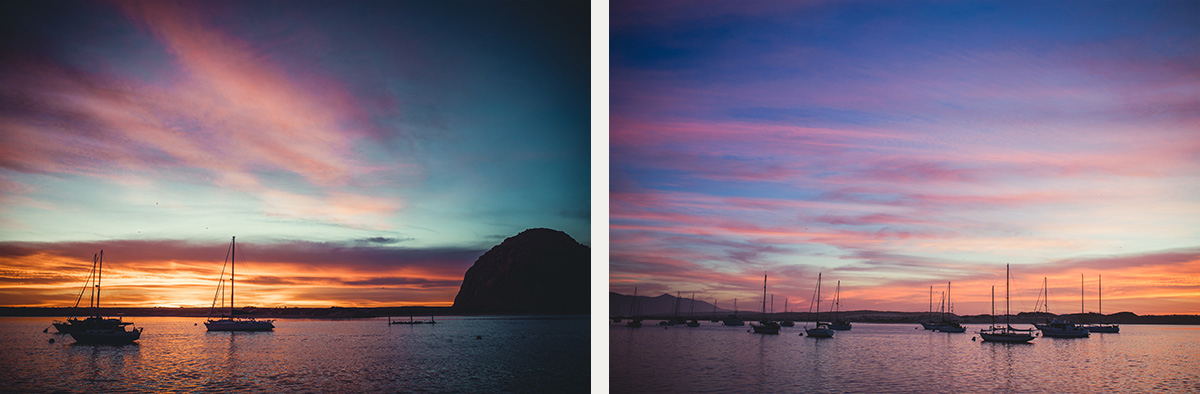 Morro Bay rock at sunset California