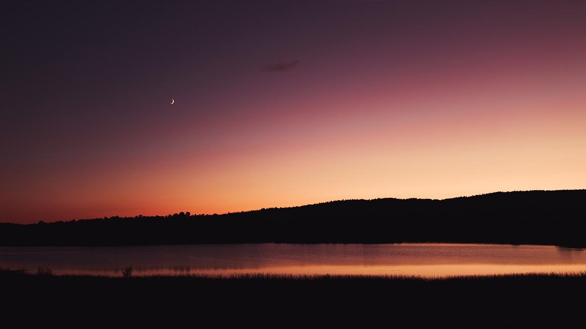 Sunset Jura lake France