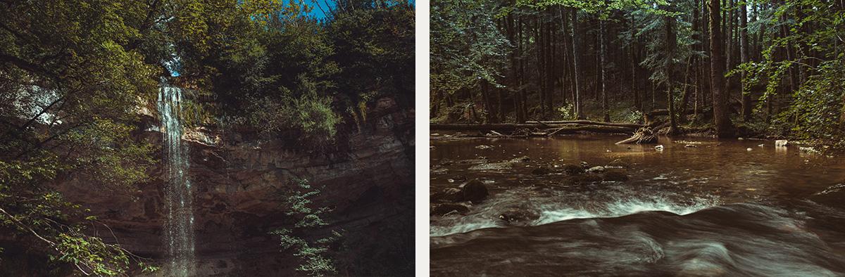 Jura lake waterfall forest France