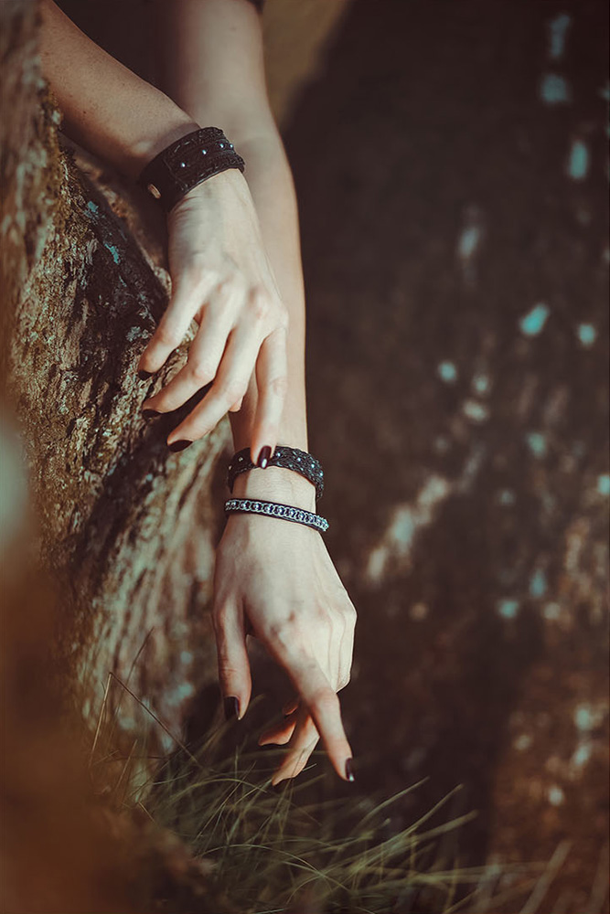 Moondust jewelry inspired by Sami Lappish traditions, close up on bracelets
