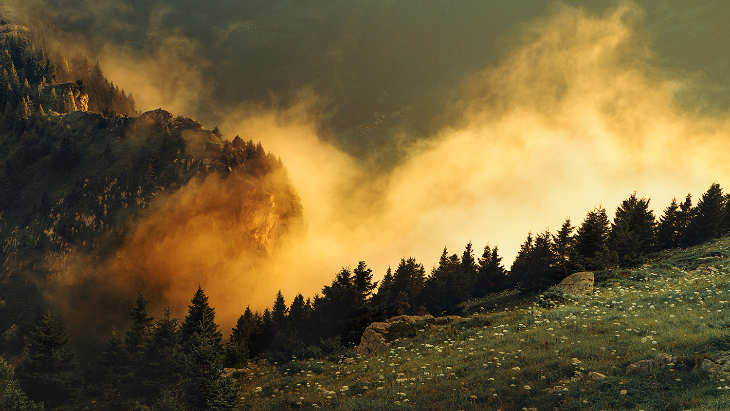 Raphaelle Monvoisin, The Golden Mist, Dusk French Alps mountains