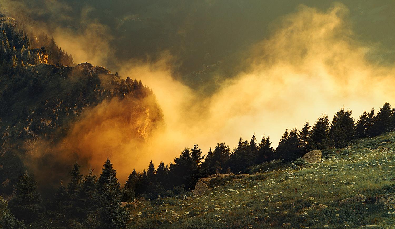 Raphaelle Monvoisin, The Golden Mist, Dusk French Alps mountains