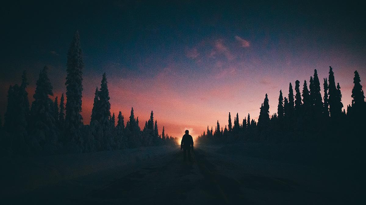 Lapland silhouette night Raphaelle Monvoisin