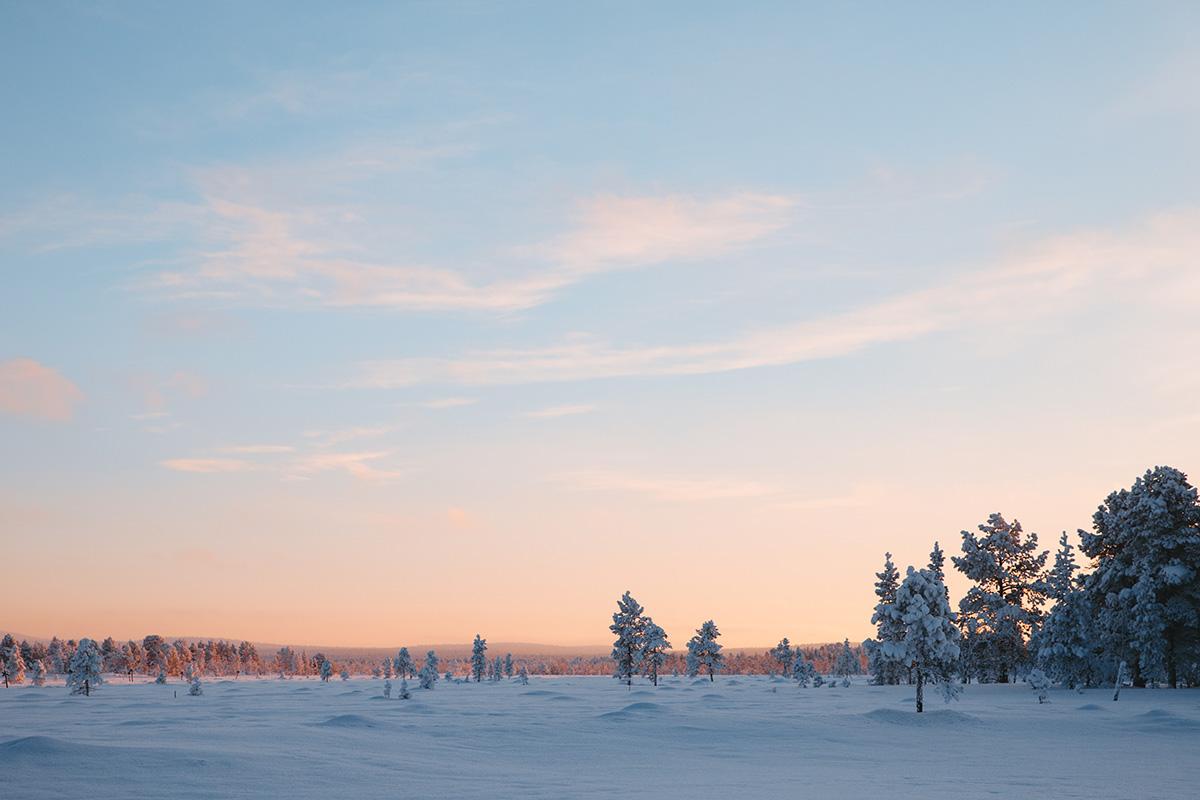 Dusk Lapland sunset landscape Raphaelle Monvoisin