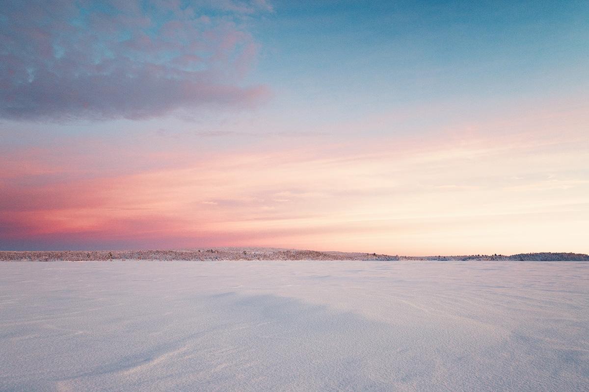 pink sky sunset Lapland Raphaelle Monvoisin
