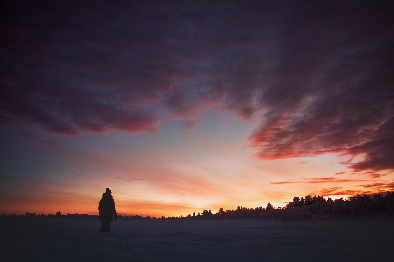 Lapland Kaarejarvi silhouette sunset arctic Raphaelle Monvoisin