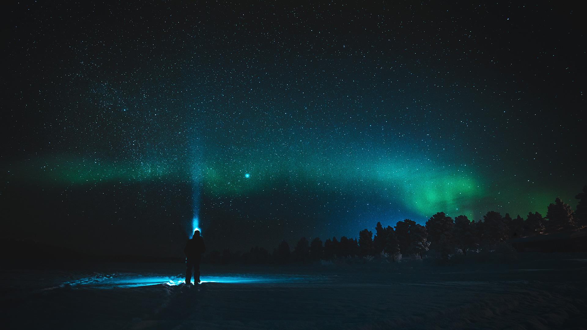 Northern lights aurora silhouette Lapland Raphaelle Monvoisin