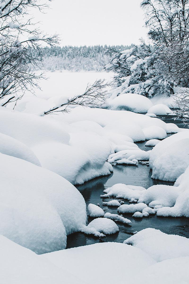 Lapland river whitewater ice snow frozen lake Raphaelle Monvoisin