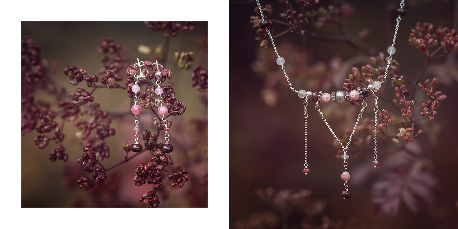 Reflet de Lune, silver and fine stones jewelry, earing bracelet and pendant, pink quartz