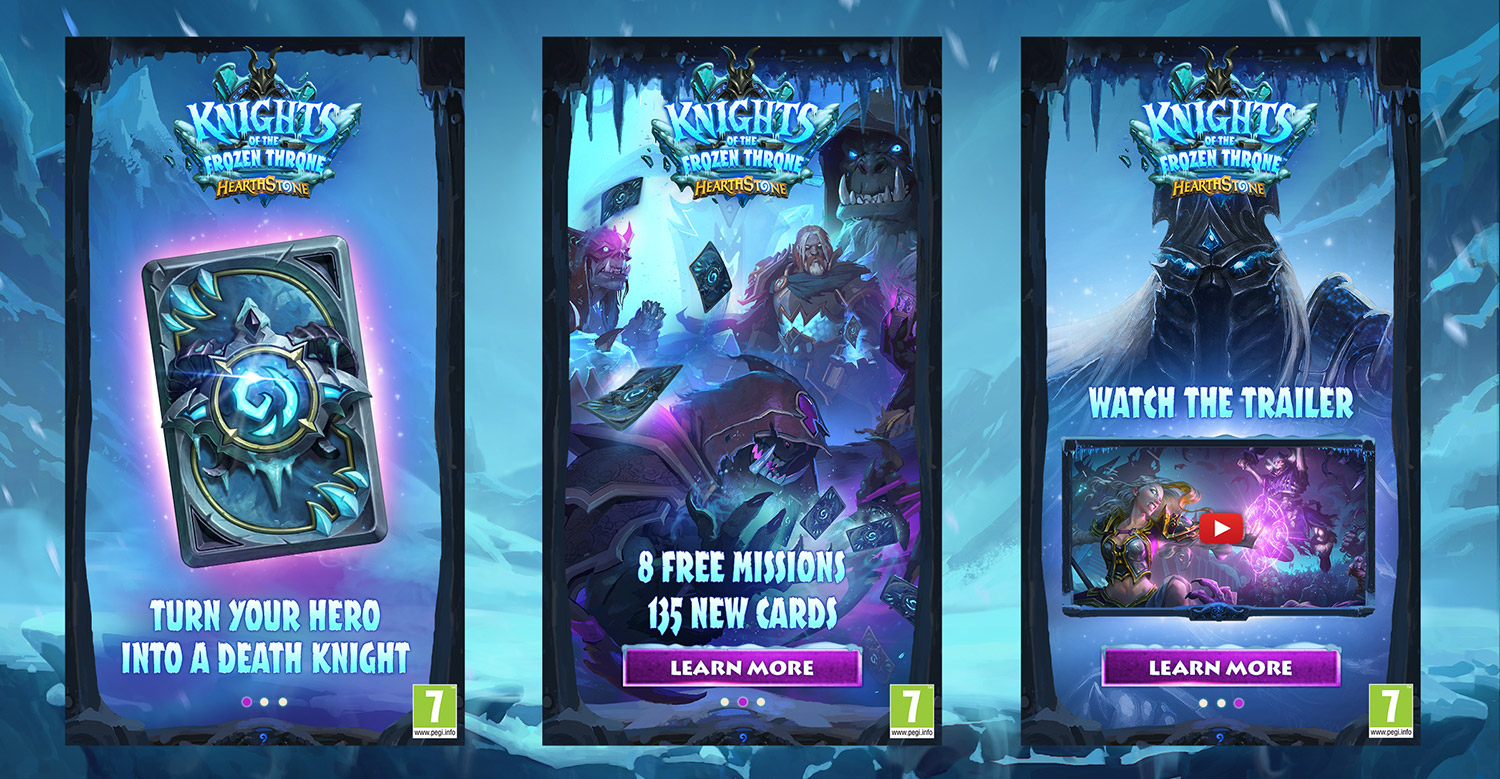 Blizzard Hearthstone Mobile ads knights of the frozen throne