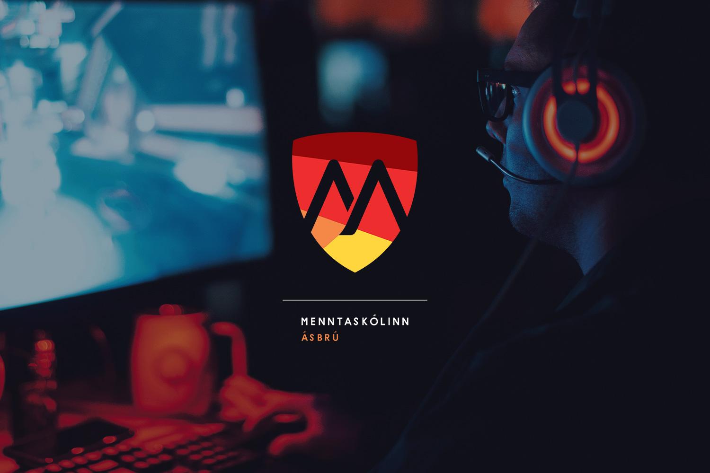 Menntaskolinn Asbru gaming school branding logotype
