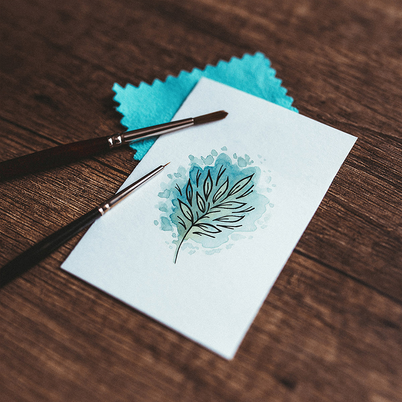 Raphaelle Monvoisin Illustration blue leaf botanical watercolor