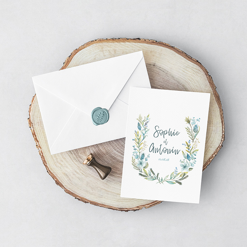 Raphaelle Monvoisin Illustration wedding invitation botanical