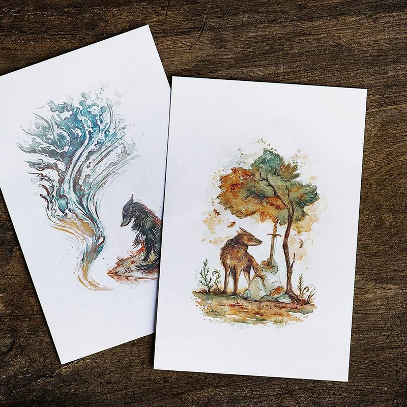 Raphaelle Monvoisin Illustration forest wolves watercolor