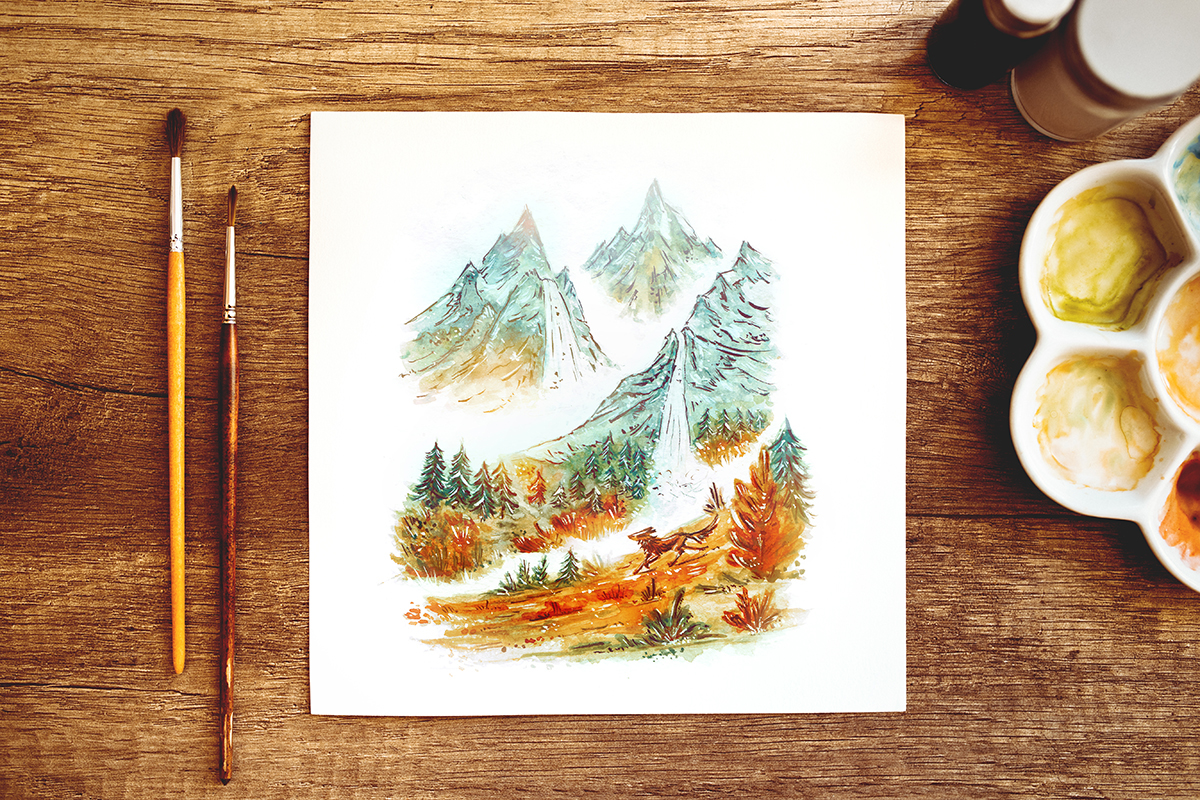 Raphaelle Monvoisin Watercolor Art Illustration wolf mountains wild wilderness
