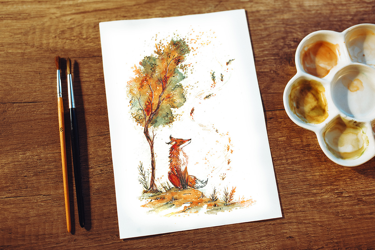 Raphaelle Monvoisin Watercolor Art Illustration fox autumn leaves tree