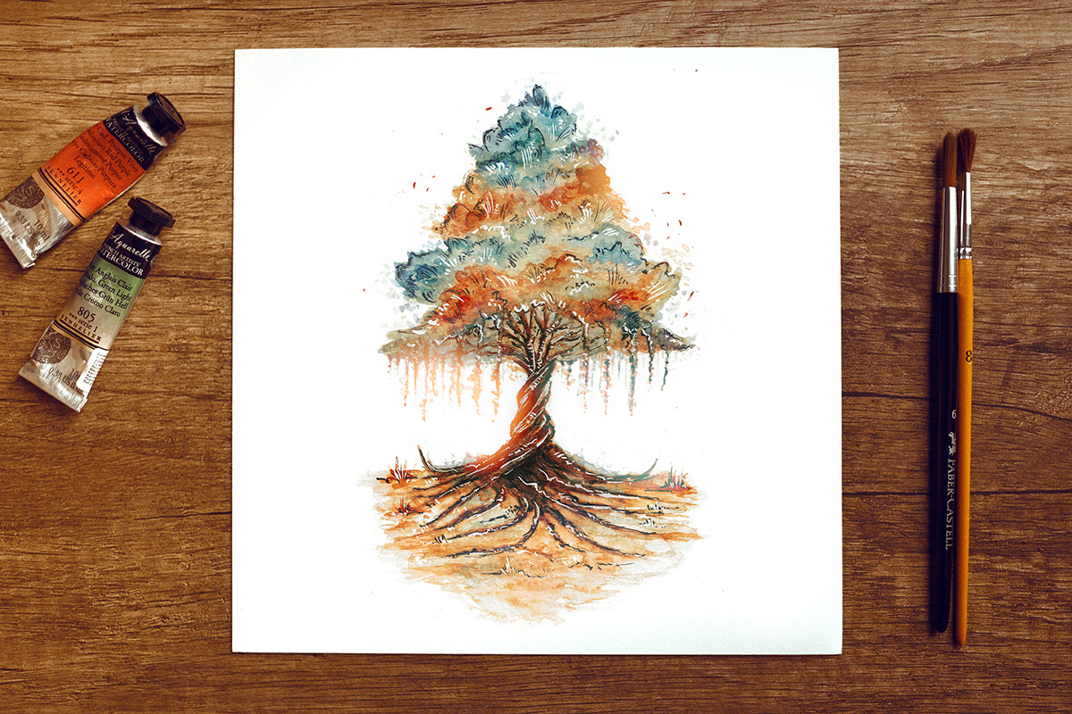 Raphaelle Monvoisin Watercolor Art Illustration oak autumn leaves tree