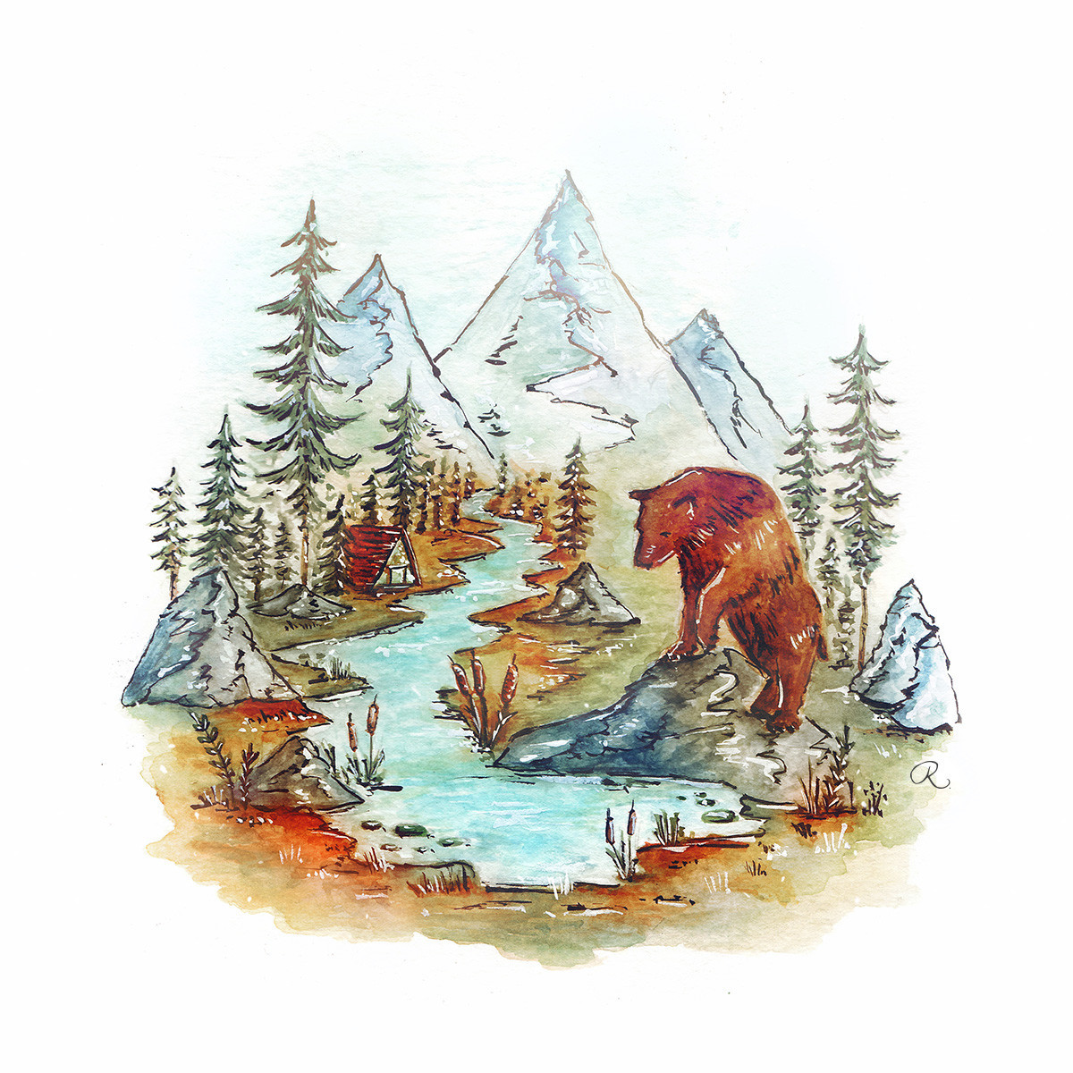 Raphaelle Monvoisin Watercolor Art Illustration bear wood forest mountains