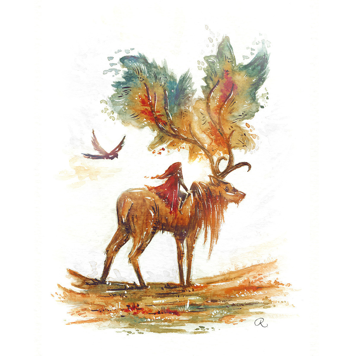 Raphaelle Monvoisin Watercolor Art Illustration deer animal fantasy