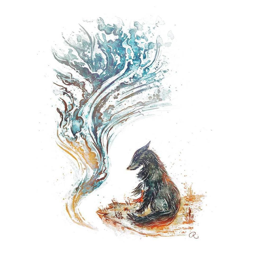 Raphaelle Monvoisin Watercolor Art Illustration wolf