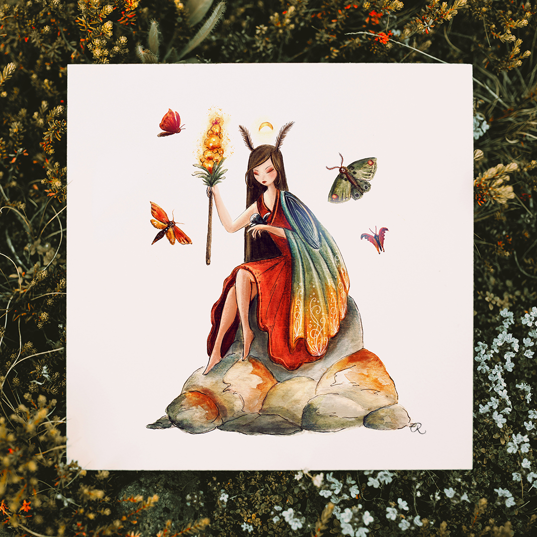 Raphaelle Monvoisin Watercolor Art Illustration tree woman lady girl blue moth moon animal fantasy