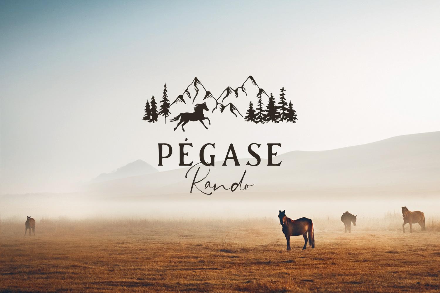 Logotype horse riding mountains Raphaelle Monvoisin Pégase Rando