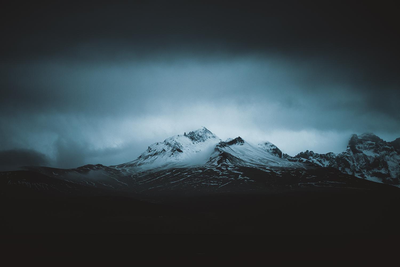 iceland blue mountain winter season dark