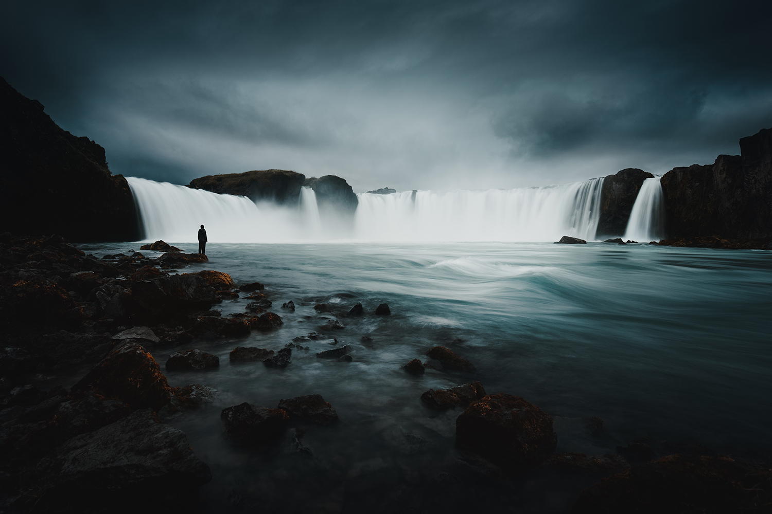 godafoss iceland waterfall arctic fall silhouette norse gods