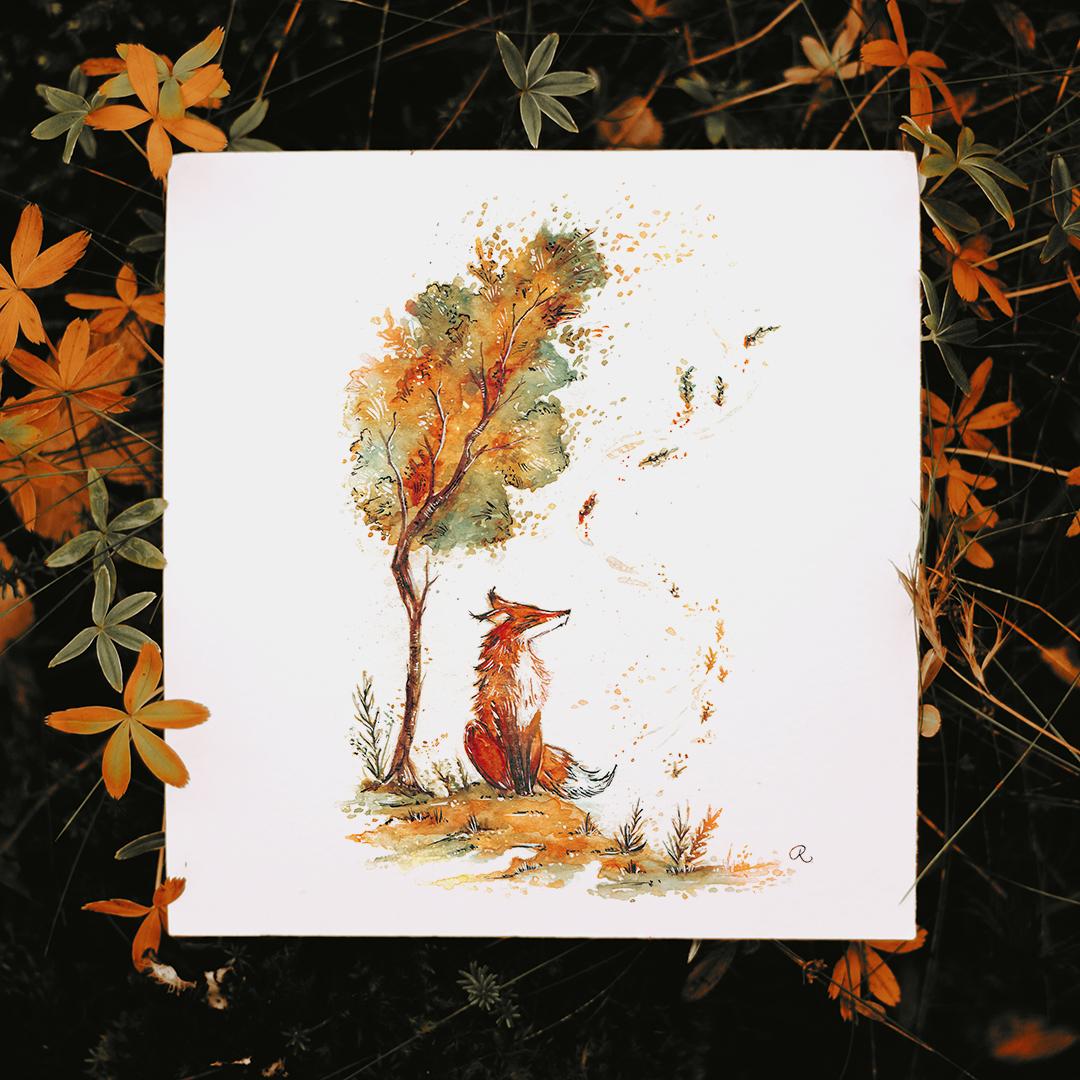 Raphaelle Monvoisin Watercolor Art Illustration animal fantasy folklore mythology folktale